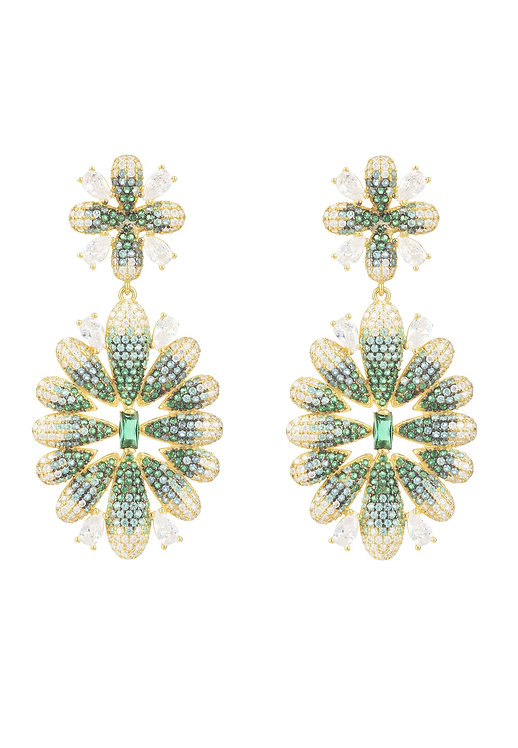 Babylon Flower Drop Earrings Gold Green
