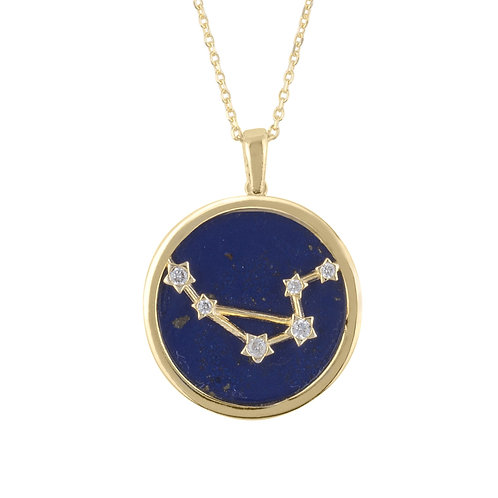 Zodiac Lapis Lazuli Gemstone Star Constellation Pendant Necklace Gold Libra