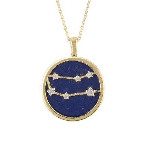 Zodiac Lapis Lazuli Gemstone Star Constellation Pendant Necklace Gold Gemini
