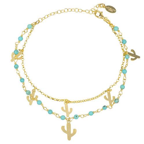 Turquoise Cactus Double Strand Bracelet Gold