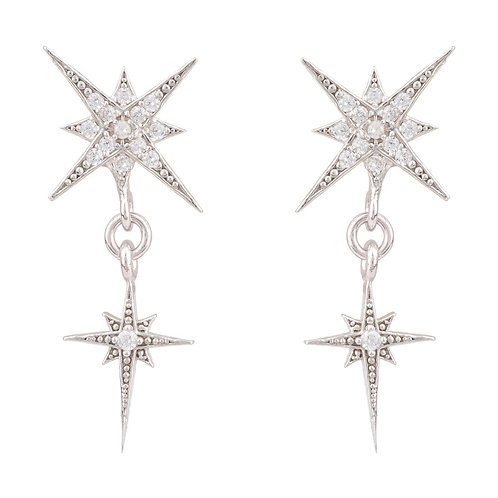 Star Burst Double Drops Earrings Silver