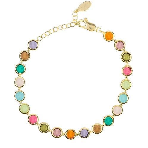 Sardinia Multi Coloured Gemstone Bracelet Gold