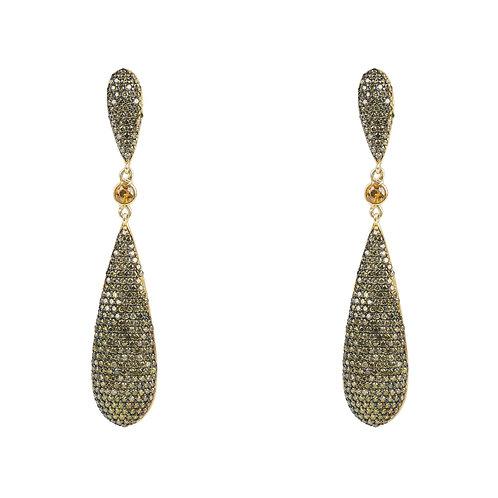 Coco Long Drop Earrings Peridot Green CZ