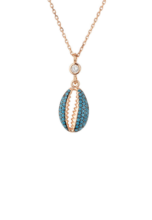 Cowrie Shell Small Sparkling Necklace Turquoise Rosegold