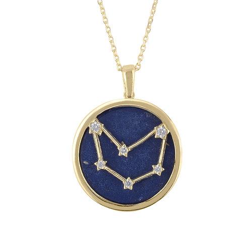 Zodiac Lapis Lazuli Gemstone Star Constellation Pendant Necklace Gold Capricorn