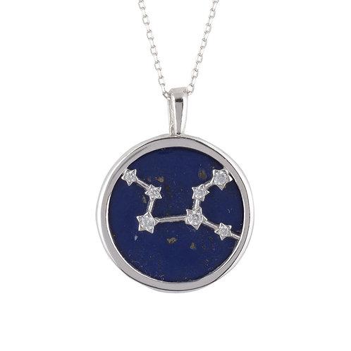 Zodiac Lapis Lazuli Gemstone Star Constellation Pendant Necklace Silver Virgo