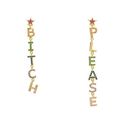 Bitch Please Rainbow Drops Earrings Gold