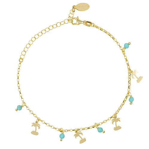 Turquoise Palm Tree Gemstone Bracelet Gold