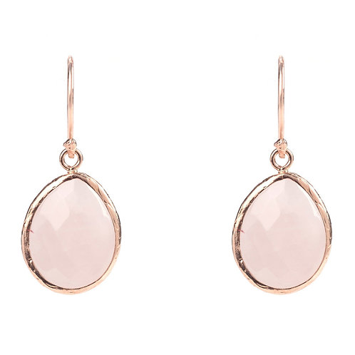 Petite Drop Earring Rose Quartz Rosegold