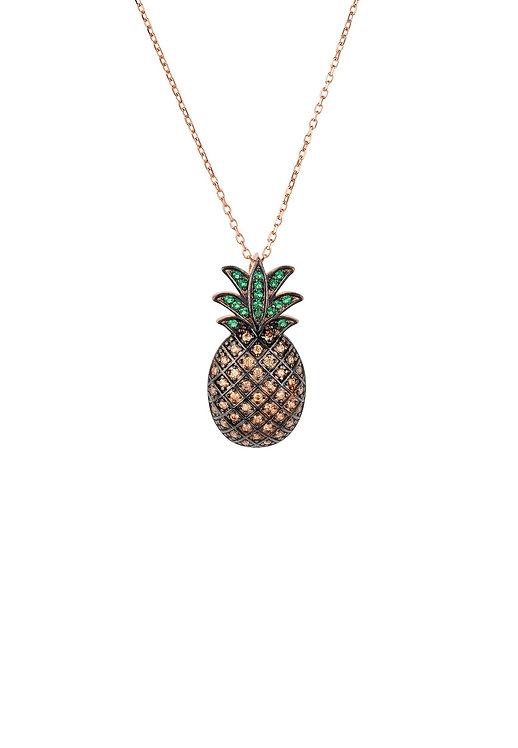 Pineapple Large Colourful Pendant Gemstone Necklace Rosegold