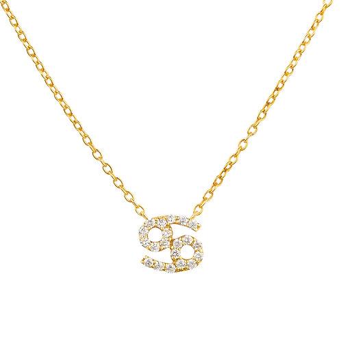 Diamond Zodiac Necklace Gold Cancer