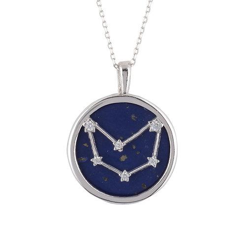 Zodiac Lapis Lazuli Gemstone Star Constellation Pendant Necklace Capricorn