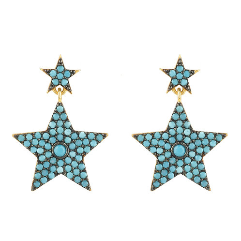 Star Double Drop Earring Turquoise
