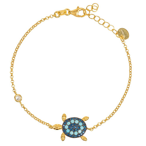 Turtle Turquoise Blue Bracelet Gold