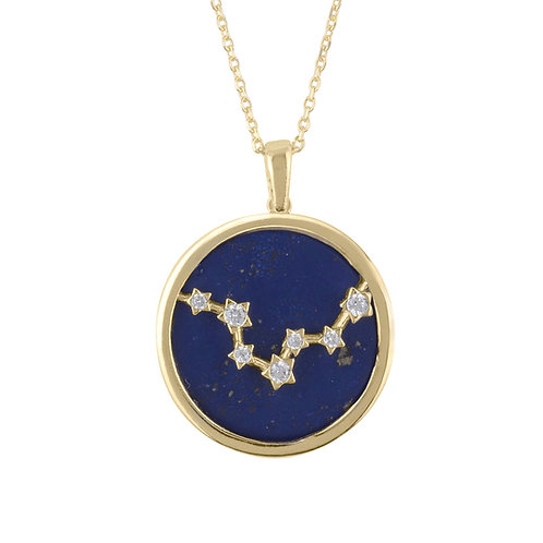Zodiac Lapis Lazuli Gemstone Star Constellation Pendant Necklace Gold Pisces