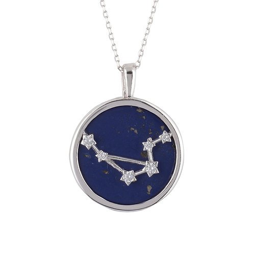 Zodiac Lapis Lazuli Gemstone Star Constellation Pendant Necklace Silver Libra