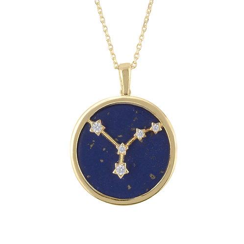 Zodiac Lapis Lazuli Gemstone Star Constellation Pendant Necklace Gold Cancer