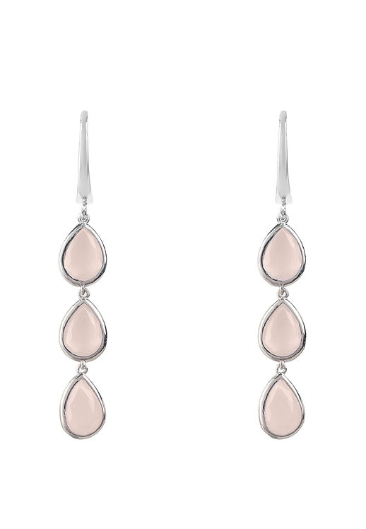 Sorrento Triple Drop Earring Silver Rose Quartz