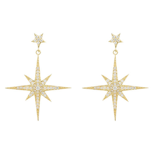 Large Star Burst Drop Earring Gold