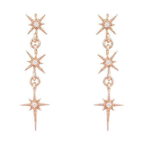 Star Burst Triple Drops Earrings Rosegold