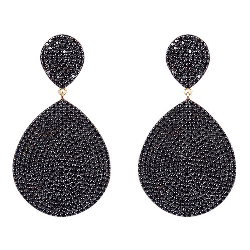 Monte Carlo Earring Gold Black Zircon