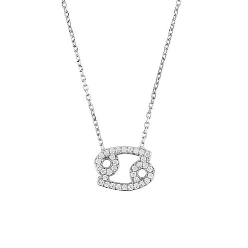 Zodiac Star Sign Pendant Necklace Silver Cancer