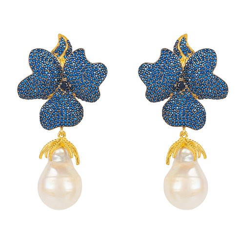Baroque Pearl Sapphire Blue Flower Earring Gold