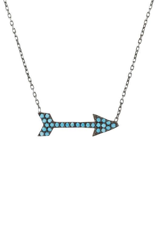 Arrow Necklace Blue Turquoise Gemstone Oxidised