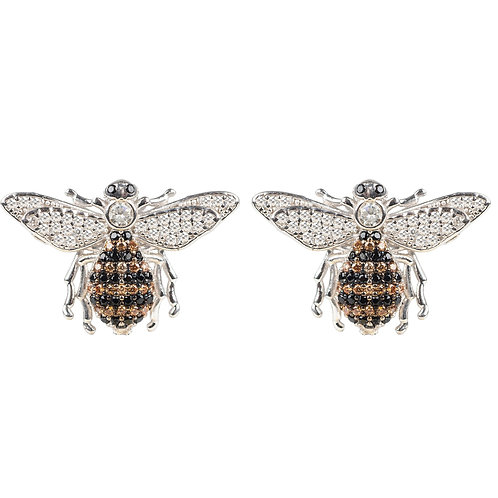 Honey Bee Stud Earrings Silver