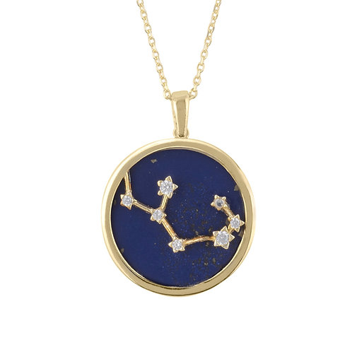 Zodiac Lapis Lazuli Gemstone Star Constellation Pendant Necklace