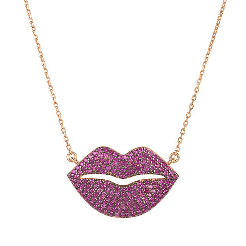 Kiss Me Lips Pendant Necklace Rose Gold