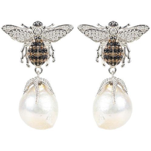 Baroque Pearl Honey Bee  Drop Earring Silver