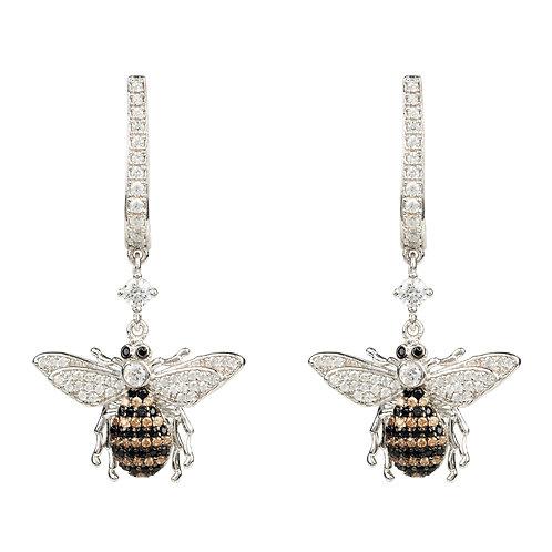 Honey Bee Drop Earring Silver