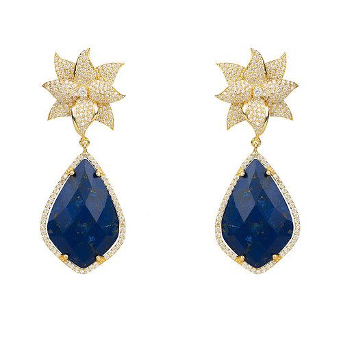 Lotus Flower Lapis Lazuli Teardrop Earring Gold