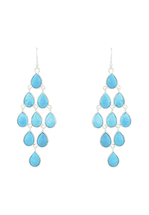 Erviola Gemstone Cascade Earring Silver Turquoise