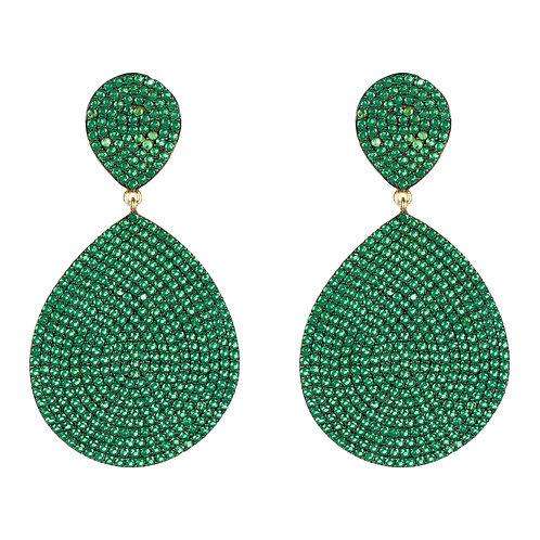 Monte Carlo Earring Gold Emerald Zircon