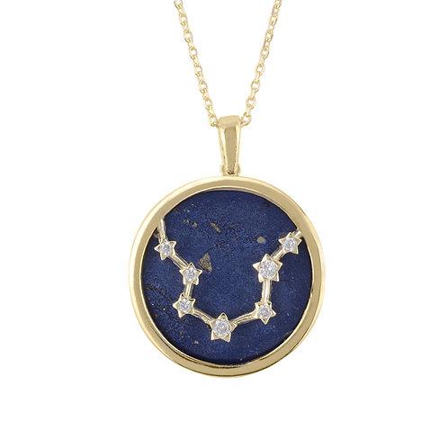 Zodiac Lapis Lazuli Gemstone Star Constellation Pendant Necklace Gold Aquarius
