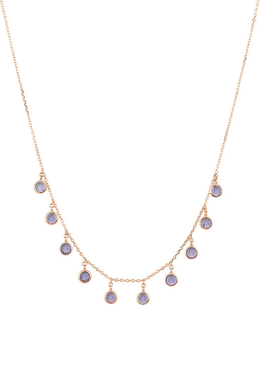Florence Round Gemstone Necklace Rosegold Amethyst