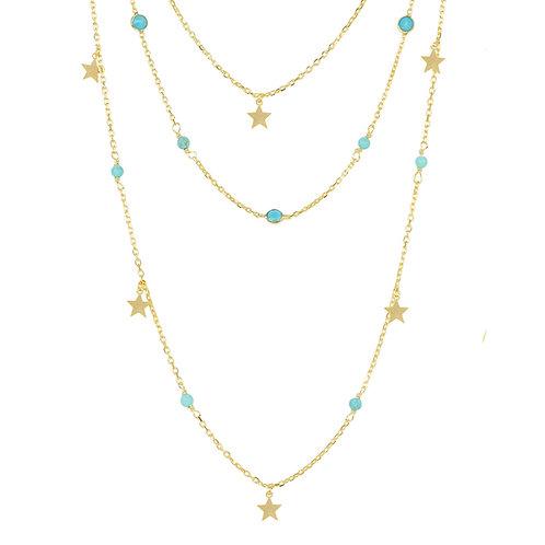 Turquoise Star Multi Strand Gemstone Necklace Gold