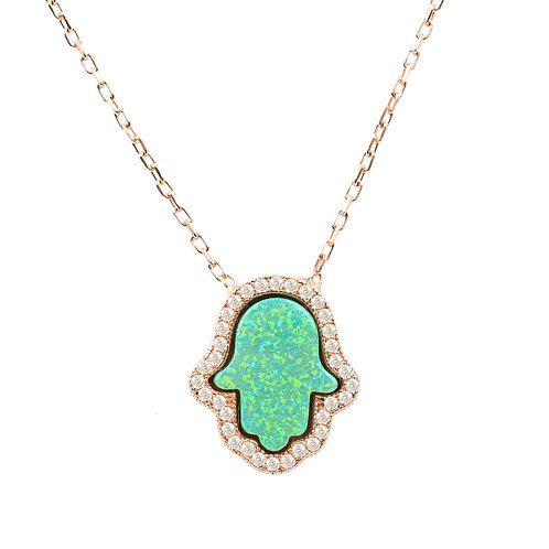 Hamsa Green Opalite Necklace Rosegold