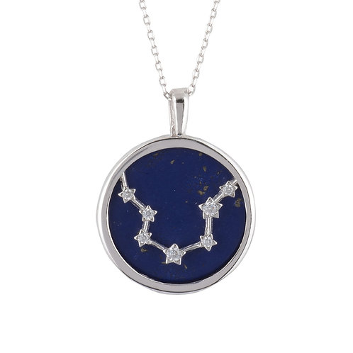 Zodiac Lapis Lazuli Gemstone Star Constellation Pendant Necklace Silver Aquarius