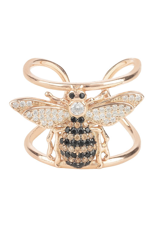 Honey Bee Cocktail Ring Adjustable Rosegold