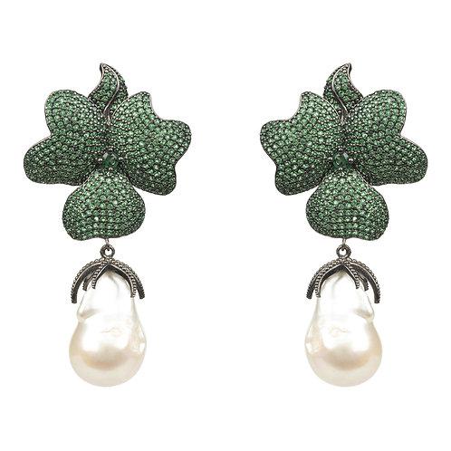 Baroque Pearl Green Flower Drop Earring  Oxidised