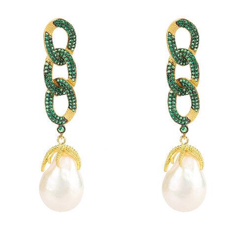 Baroque Pearl Link Chain Drop Earring Green CZ