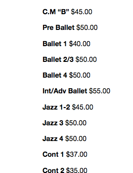 Winter Show costume price list