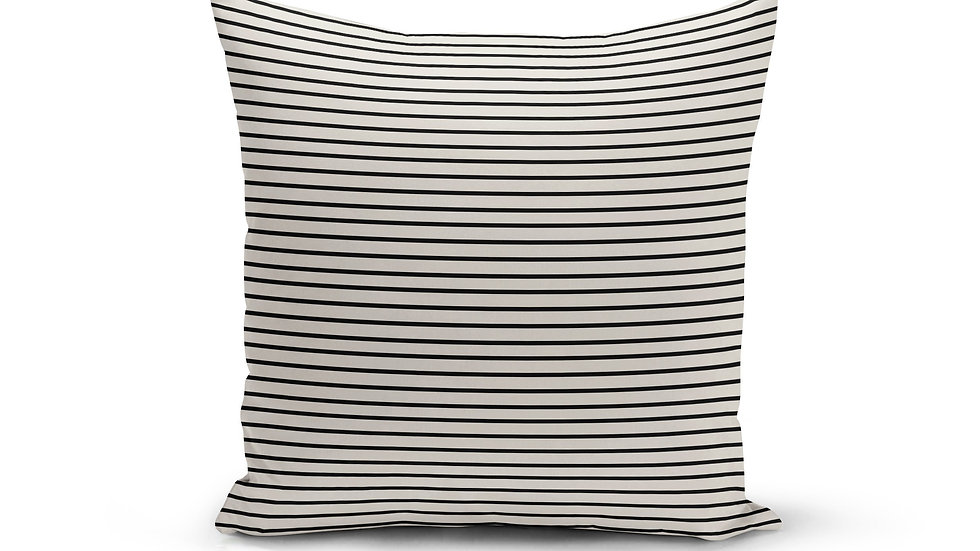Black Cream Pinstripe Pillow Cover