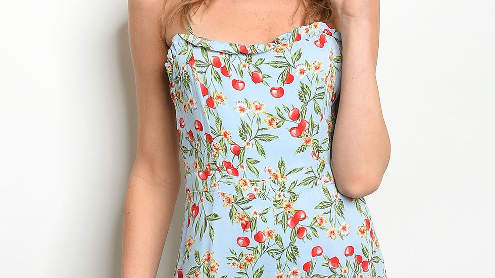 Womens Blue With Cherry Print Romper