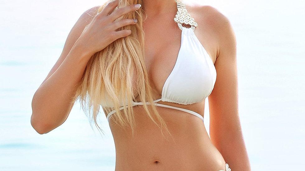 Nicole Halter Top & Skimpy Bottom - White