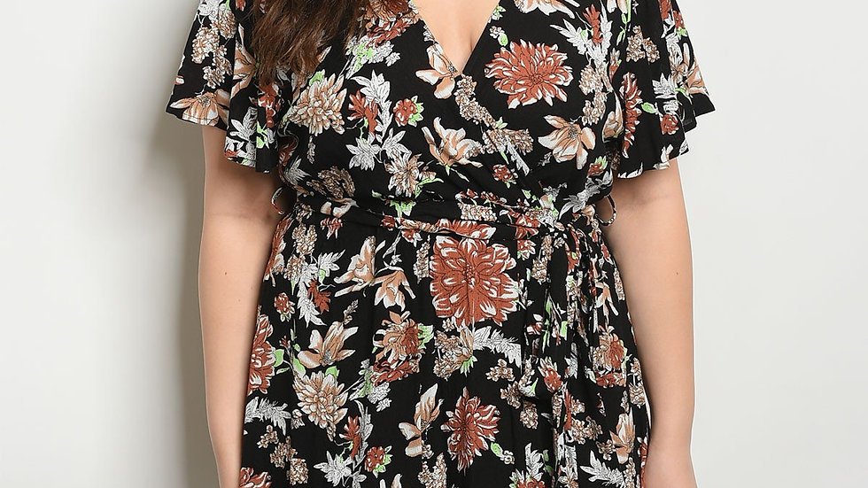 Womens Floral Plus Size Dress