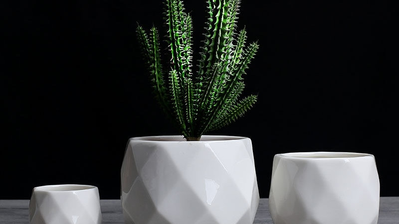Creative Ceramic Diamond Geometric Flowerpot Simple Succulent Plant